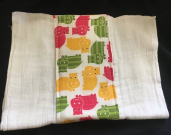 Bright Hippos Burp Cloth