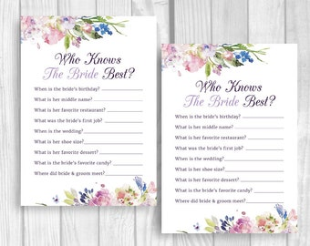 Who Knows the Bride Best 5x7 Printable Bridal Shower Quiz Question Game - Purple and Lavender Flowers Watercolor Flowers - Instant Download