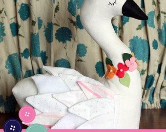 Seraphina Swan Plush Pillow Softie PDF Sewing Pattern
