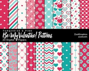 """Be My Valentine Patterns–Turquoise & Pink, 20 Digital Papers (12""""x12""""), Pattern File PAT Included, Seamless, Commercial Use INSTANT DOWNLOAD"""