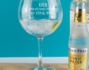 Personalised When Life Hands You Lemons Add Gin & Tonic Copa Balloon Glass, Goblet, Gin Gift