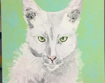 Original Painting White cat Green eyes Abstract Art Cat Portrait Pet painting  cat painting