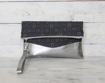 Ikat Clutch Purse with metallic bluish Silver Leather, Fold over Clutch Purse, Bridesmaid Clutch,  wrist strap clutch bag, wristlet clutch