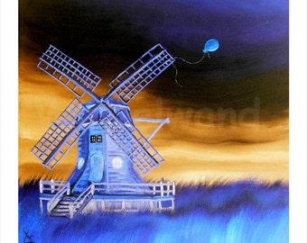 Kunstdruck eines Ölgemäldes - Der Orangene Luftballon III (34 x 34 cm) Farbvariante Invertiert