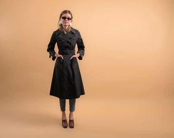 70s Black Trench Coat / Boho Trench Coat / Princess Trench Coat / 70s Rain Coat Δ fits sizes: XS/S