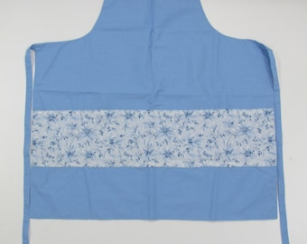 Apron, Blue Floral, New Made in Canada Hand Made
