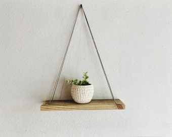 Swing Shelf - Gray Leather and Reclaimed Wood - Urban Wood Shelf - Simple Hanging Shelf - Minimalist Shelf - Suspended Shelf - Gray Wood