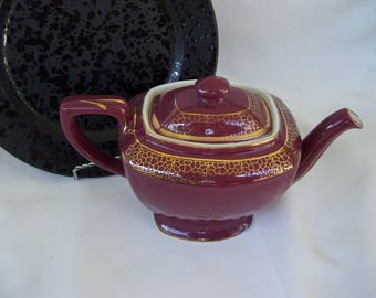 Hall Large Teapot Burgundy with Gold Design Holds 6 Cups Hall Pottery