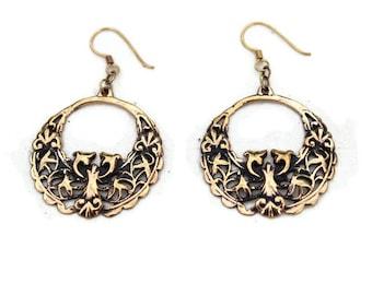 Vintage Baroque Bronze Earrings