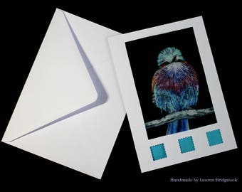 Lilac breasted roller bird, card, bird card, blue bird, birthday card, best wishes, thank you, thinking of you, wildlife, greetings card