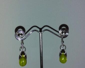 Green glass teardrop earrings