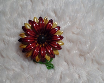 Enameled Flower Brooch with Earth Tone Colors