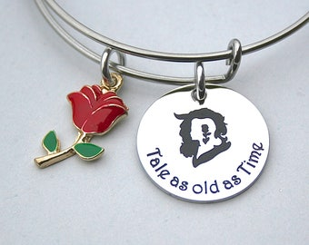 Beauty and the Beast, Tale as old as Time, Stainless Steel Charm, Gift For Her, Stainless Steel Bangle, Red Rose, Disney Jewelry