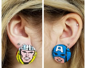 Marvel comics avengers vintage style earrings