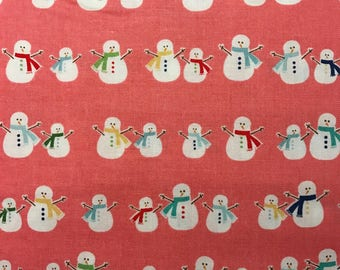 White Snowmen on Pink Background, Cozy Christmas by Lori Holt for Riley Blake, 100% Cotton