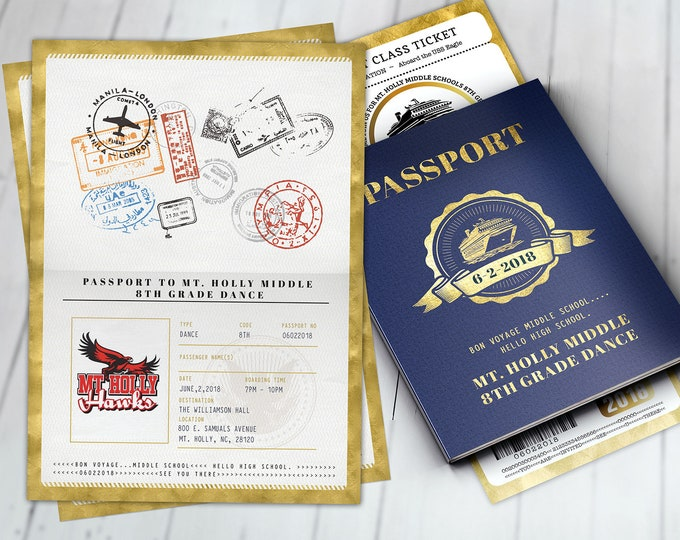 Cruise,Prom,PASSPORT and TICKET invitation, Dance, Birthday party, bridal shower, travel birthday, invitation, passport, Digital files