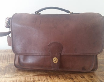 Vintage Distressed Brown Leather COACH Case Briefcase Attache Bag