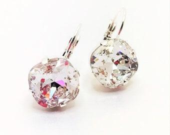 Clear Swarovski Crystal Bridal Earrings Sparkly Wedding Jewelry 12mm Cushion Cut Crystal Drops Clear Crystal Diamond Earrings Bridal Gift