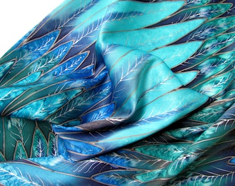 Hand painted Silk scarf.Scarf in  Blue, turquoise, blue, green colors. Size 16/68. 100% silk.