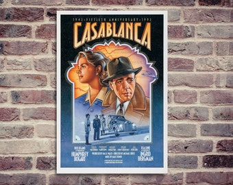 Casablanca movie poster. Humprhey Bogart. Ingrid Bergman. Vintage movie poster.