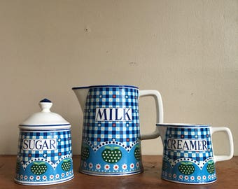 Vintage Set of Serveware. Creamer, Sugar and Milk for Coffee and Tea. Country Kitsch.