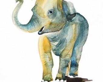 Elephant watercolor original, original art, elephant watercolor, Animal watercolor, gift for kids, home decor, animal art, gift for her OOAK