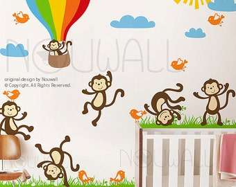 Vinyl Wall Decal Wall Sticker Kids Decal - Sunny Day Monkey on Grass, hot air balloon