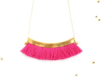 Hot pink tassel necklace for her festival fashion boho chic statement necklace, bohemian brass gold fringe necklace gift for her  / AUTUMN