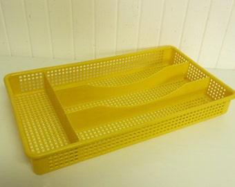 Vintage Small Size Bright Yellow Plastic Mesh Silverware Cutlery Utensil Tray
