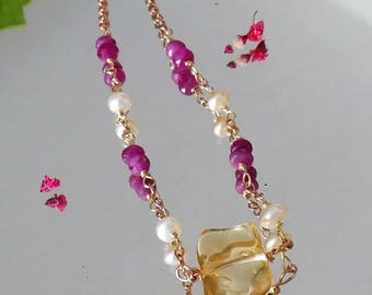 Citrine, ruby, pearl rose gold necklace