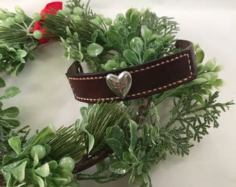 Hand Stained Layered Red Brown Leather Cuff Bracelet with Nickel Plate Cross Heart