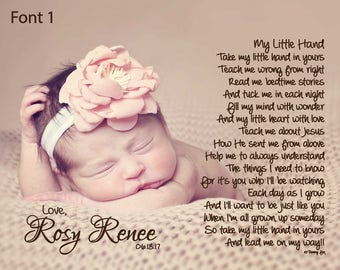 Daddy's First Father's Day Gift from Baby-Personalized Poetry Print-My Little Hand Poem-To Daddy From Son or Daughter-New Daddy Gift