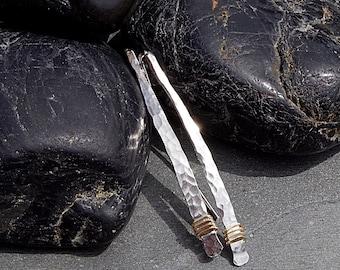 Threader Earrings, Hammered Silver Earrings, Pull Through Earrings, Hammered Silver Earrings, Gold and Silver Earrings, Minimalist Earrings