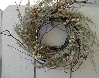 Birch Twig Wreath  Rustic Wreath Winter Wreath  Natural Wreath   Tallowberries   Autumn Wreath   Rustic Wedding   Natural Wreath
