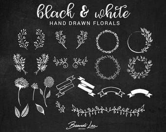 Black & White Hand Drawn Florals Clip Art - Digital Download - 300 DPI - Vector - Photoshop Brushes - Transparent PNG
