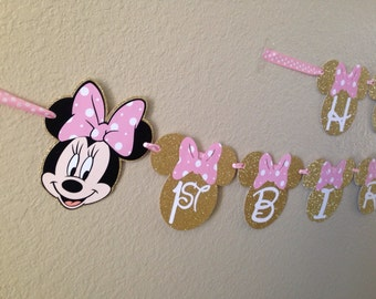 Minnie Mouse Birthday Banner, Minnie Mouse Party, Minnie Mouse Birthday, Pink and Gold Minnie