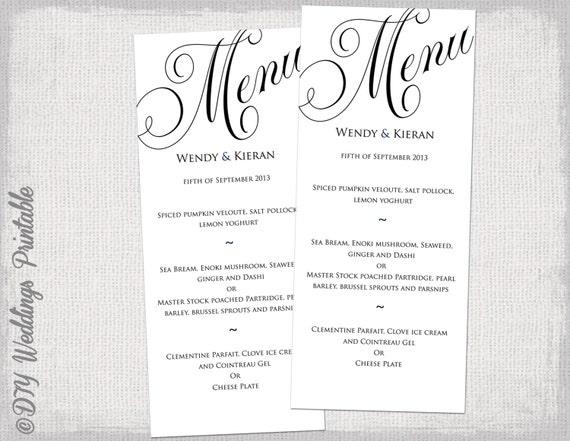 wedding menu templates