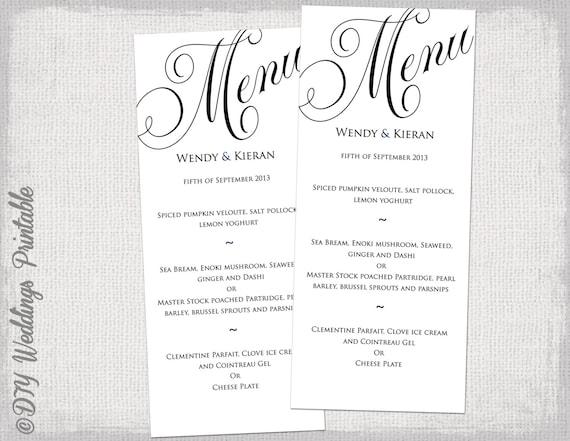 menu template black and white wedding menu diy wedding menu