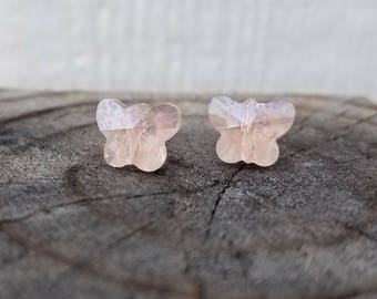 METAL FREE Pink glass butterfly earrings on plastic posts for sensitive ears
