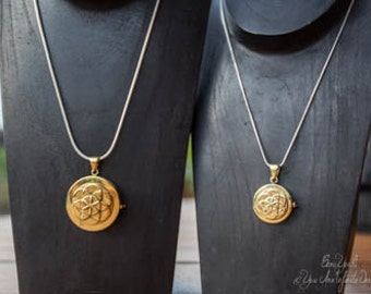 Brass Seed of Life Lockets His and Hers Set of Two Sacred Geometry Keepsake Locket