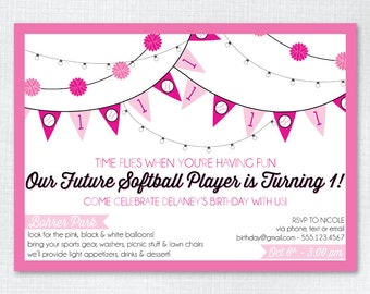 Custom Birthday Invitation 5x7 Downloadable- Future Softball / Baseball Player // First Birthday