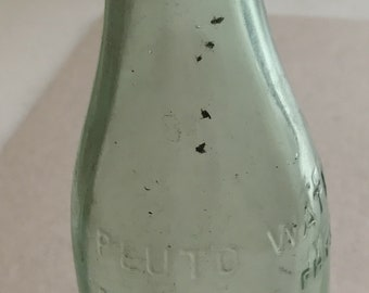 Michigan Bottle Dump Find Pluto American Physic green  glass Bottle Spring Water Bottle embossed devil