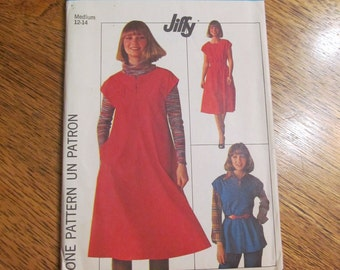 1970's Jiffy Peasant Dress, Jumper or  A-Line Top - Size Medium - UNCUT Vintage Sewing Pattern Simplicity 7657