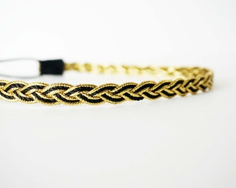 Black and Gold Woven Braided Headband