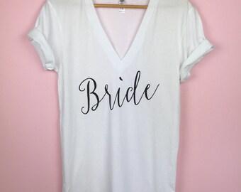 Wedding Shirt. Wedding Day Shirt. Bride Shirt. Bride Tshirt. Wedding Tshirts. Bridal V-neck Shirt. Bride V-neck Tshirt. Bridal Shirt.