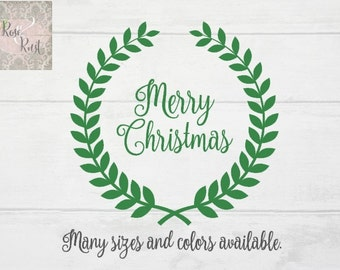 Merry Christmas Wreath Decal, Christmas Wreath Decal, Merry Christmas Decal, Christmas Decal, Holiday Decal, Window Decal