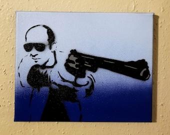 "Hunter S Thompson Blue Paintings on 8"" x 10"" Canvas Art Gonzo Paint Art - Pop Art"