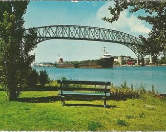 Vintage 1960s Postcard Sarnia Ontario Canada Bluewater International Bridge Transportation Architecture Card Photochrome Postmarked
