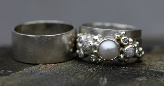 Three Ring Bridal Set- Rough Diamond, Diamond Melee and Pearl Engagement Ring and Matching Wedding Bands- Custom Made Custom Colour