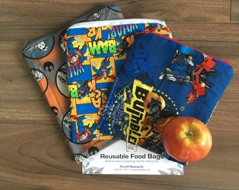 Reusable Washable Lined and Zippered Boys Assorted Superhero Themed Sandwich Food Bags